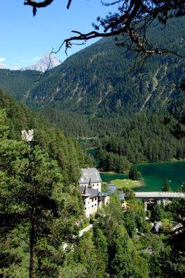 Forest track Schloss Fernstein castle  and Lake Fernsteinsee  No