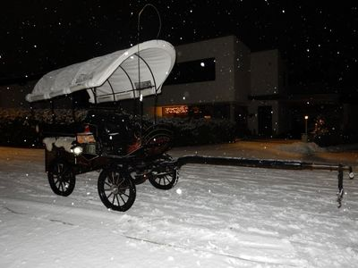 Carriage ride by snowfall
