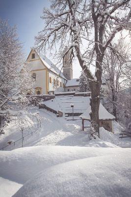 Pilgrimage church St. Georgenberg in winter